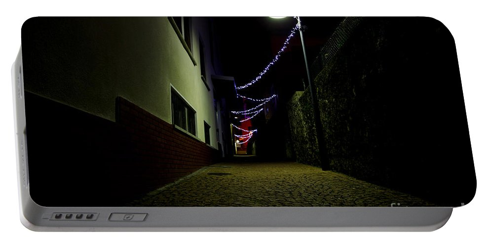 Alley Portable Battery Charger featuring the photograph Alley With Lights by Mats Silvan