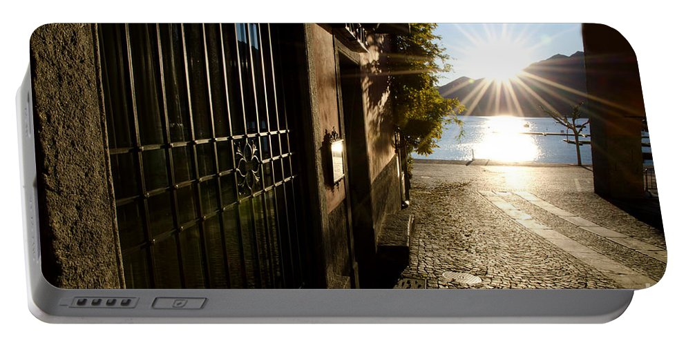 Alley Portable Battery Charger featuring the photograph Alley With Sunshine by Mats Silvan