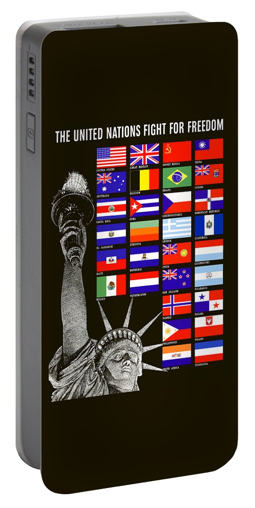 Statue Of Liberty Portable Battery Charger featuring the painting Allied Nations Fight For Freedom by War Is Hell Store