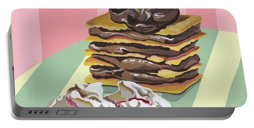 Almond Portable Battery Charger featuring the painting Almond Cake by Shirley Radebach