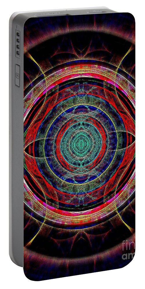 Mandala Portable Battery Charger featuring the digital art Almost Mandala by Klara Acel