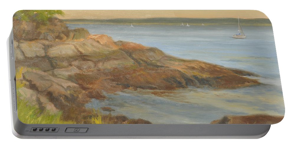Landscape Portable Battery Charger featuring the painting Along The Sound Shore by Phyllis Tarlow