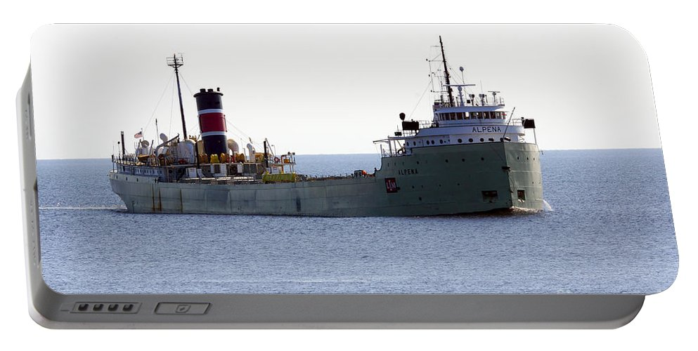Ship Portable Battery Charger featuring the photograph Alpena Ship by Lori Tordsen