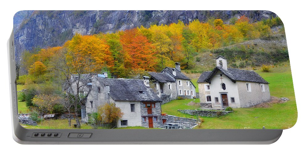 Village Portable Battery Charger featuring the photograph Alpine Village In Autumn by Mats Silvan