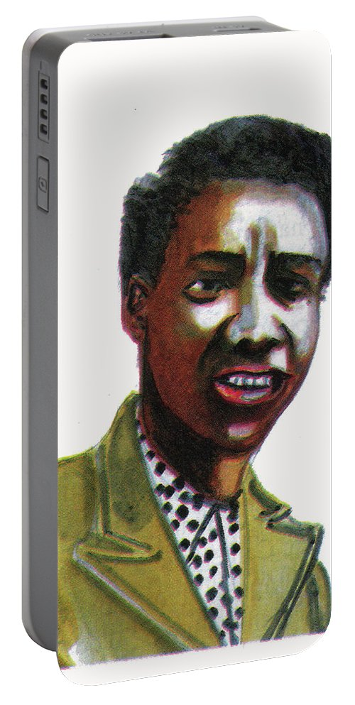 Portraits Portable Battery Charger featuring the painting Althea Gibson by Emmanuel Baliyanga