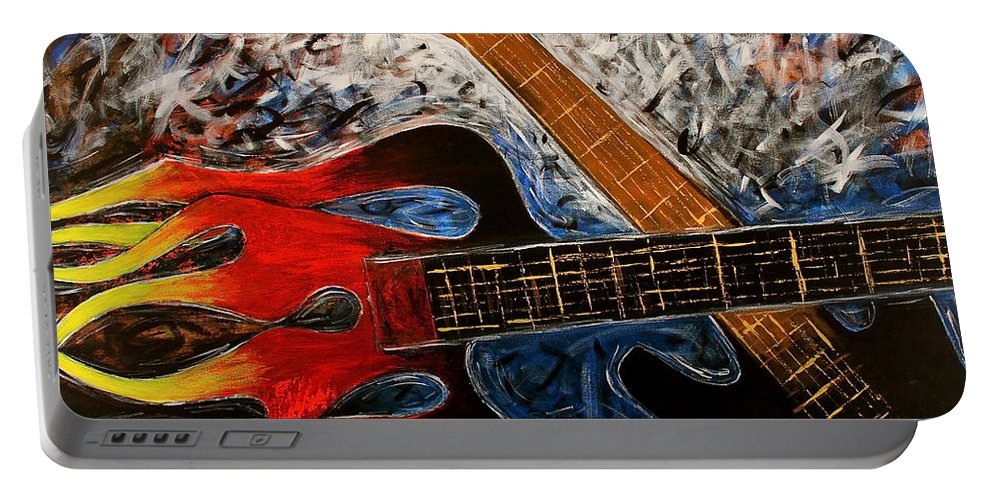 Always About Music Portable Battery Charger featuring the painting Always About Music by Kume Bryant