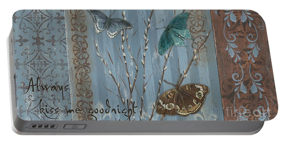 Butterfly Portable Battery Charger featuring the painting Always Kiss Me Goodnight by Debbie DeWitt