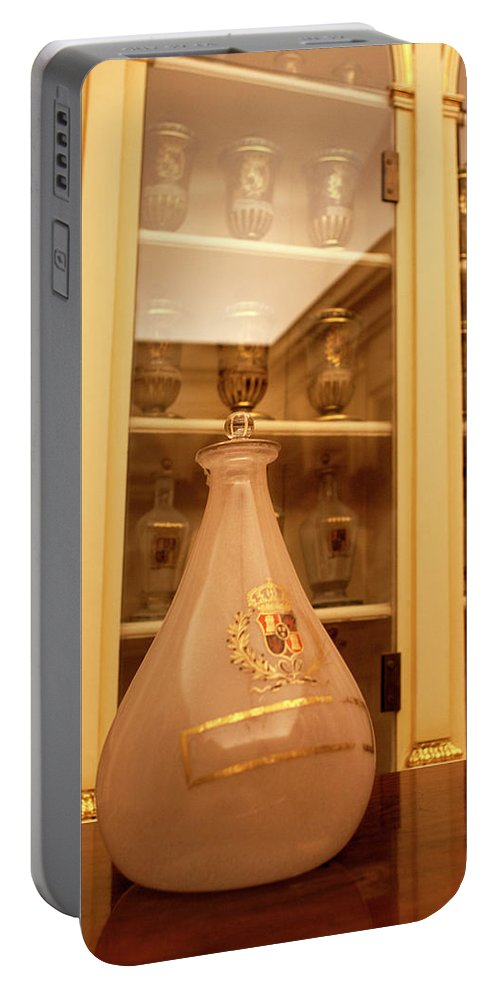 Madrid Portable Battery Charger featuring the photograph Amber Pharmacy Bottle by Lorraine Devon Wilke