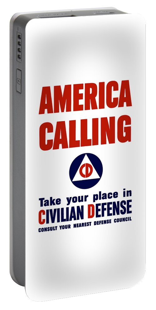 Civil Defense Portable Battery Charger featuring the painting America Calling -- Civilian Defense by War Is Hell Store