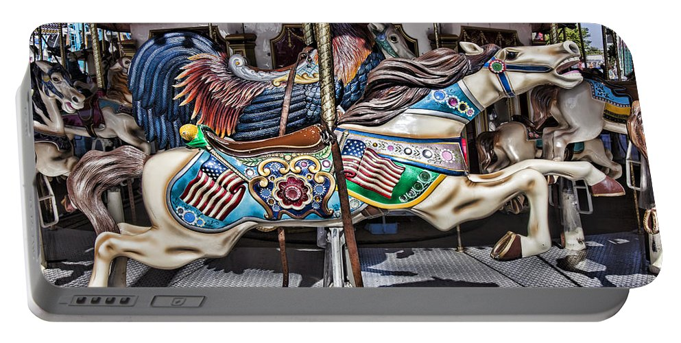 Wild Carrousel Horses Portable Battery Charger featuring the photograph American Carousel Horse by Garry Gay