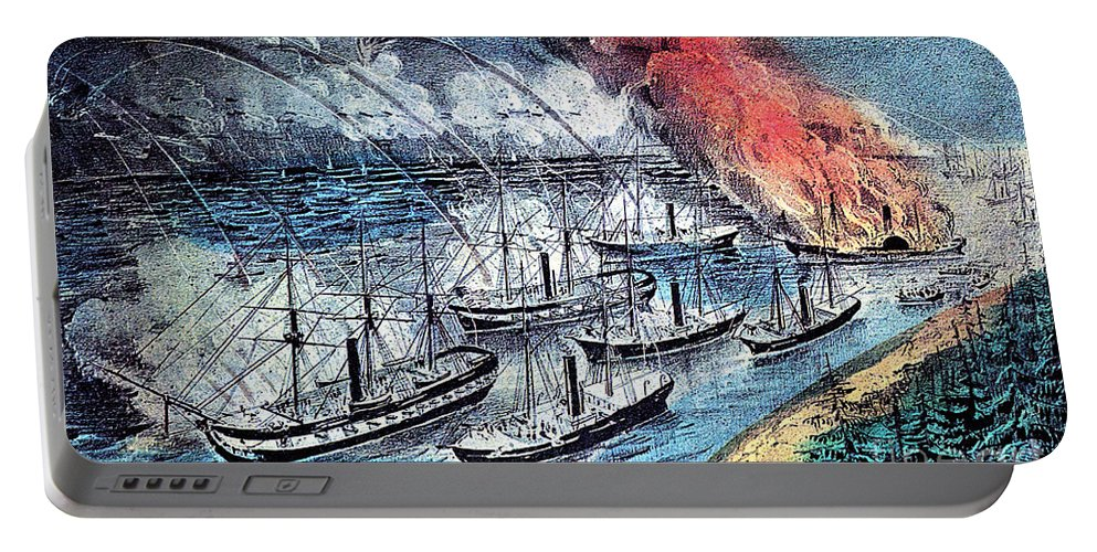 History Portable Battery Charger featuring the photograph American Civil War, Farraguts Fleet by Photo Researchers
