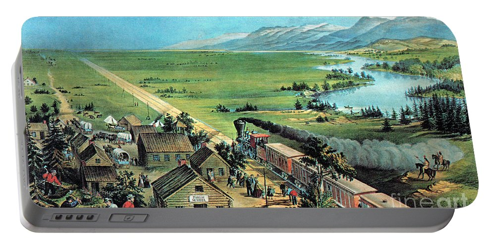 History Portable Battery Charger featuring the photograph American Transcontinental Railroad by Photo Researchers