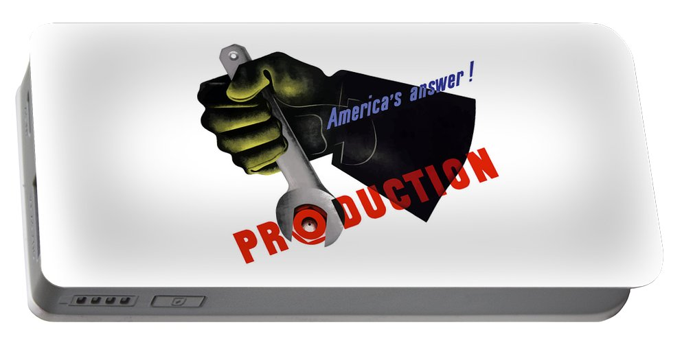 American Worker Portable Battery Charger featuring the painting America's Answer -- Production by War Is Hell Store