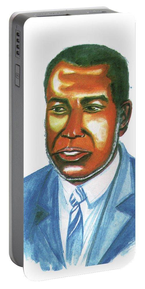 Amilcar Cabral Lopes Portable Battery Charger featuring the painting Amilcar Cabral Lopes by Emmanuel Baliyanga