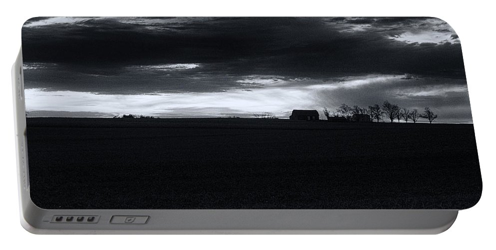 Amish Portable Battery Charger featuring the photograph Amish Sunrise Black And White by Joshua House