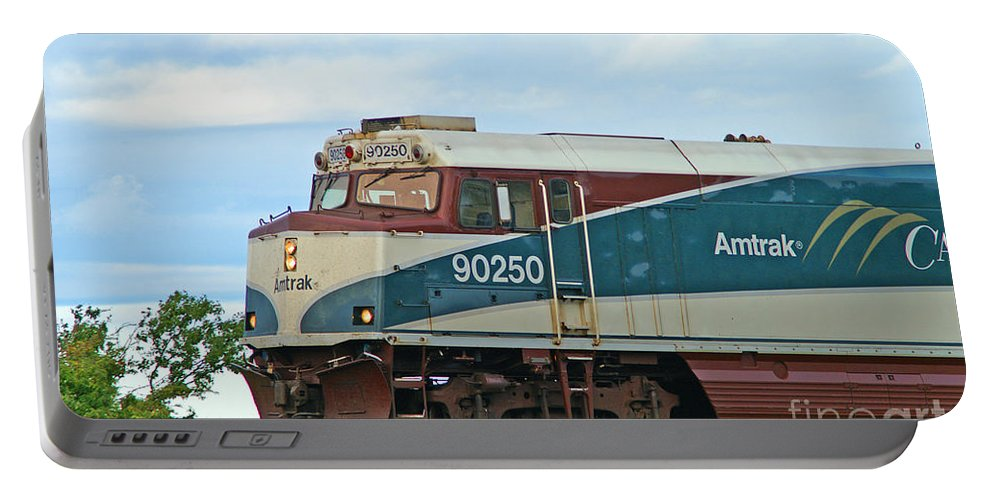 Trains Portable Battery Charger featuring the photograph Amtrack Engine by Randy Harris