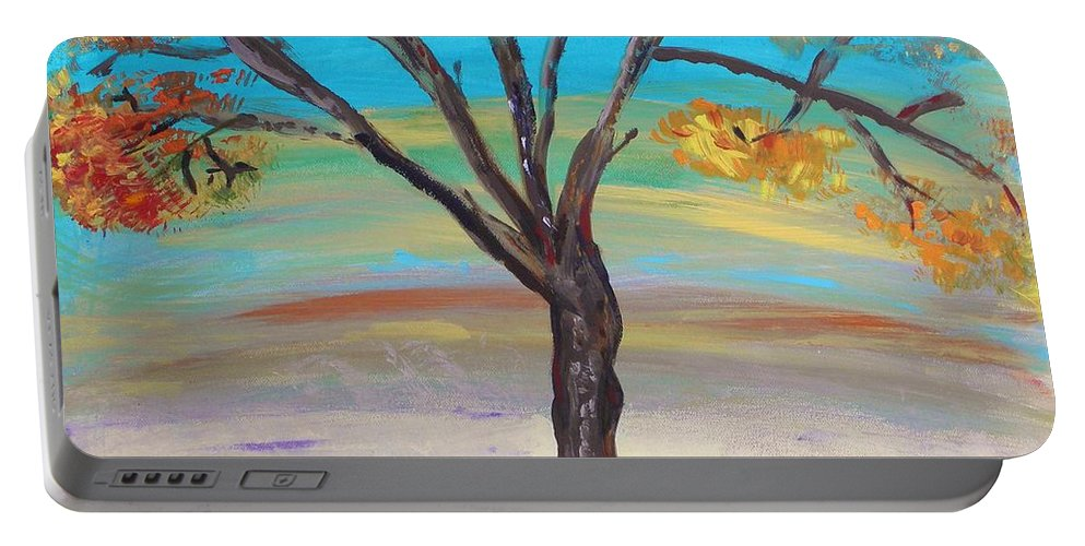 Large Work On Paper Portable Battery Charger featuring the painting An Autumn Locust Tree by Mary Carol Williams