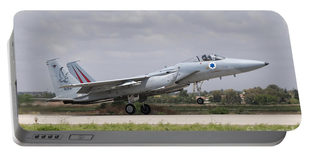 Israel Portable Battery Charger featuring the photograph An F-15c Eagle Baz Aircraft by Giovanni Colla