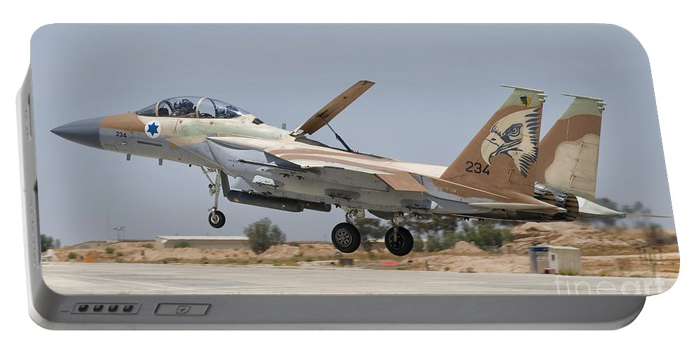 Israel Portable Battery Charger featuring the photograph An F-15i Raam Taking Off From Hatzerim by Giovanni Colla