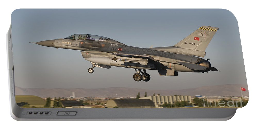Turkey Portable Battery Charger featuring the photograph An F-16b Of The Turkish Air Force by Giovanni Colla