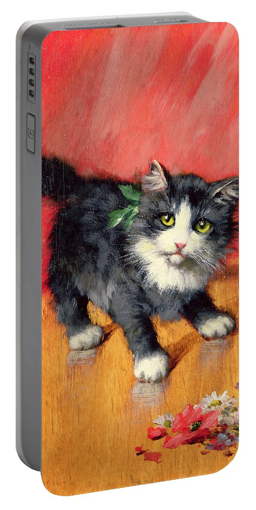 Kitten Portable Battery Charger featuring the painting An Innocent Look by Leon-Charles Huber