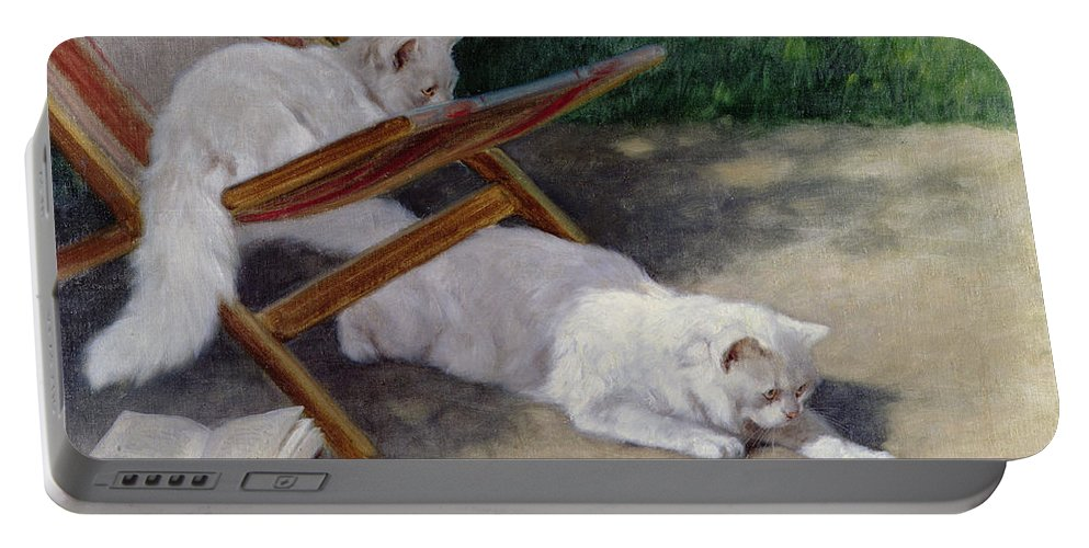 An Uninvited Guest Portable Battery Charger featuring the painting An Uninvited Guest by Arthur Heyer