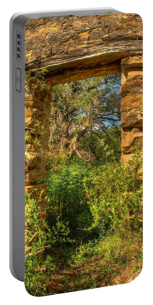 Stone Portable Battery Charger featuring the photograph Ancient Doorway by Beth Gates-Sully