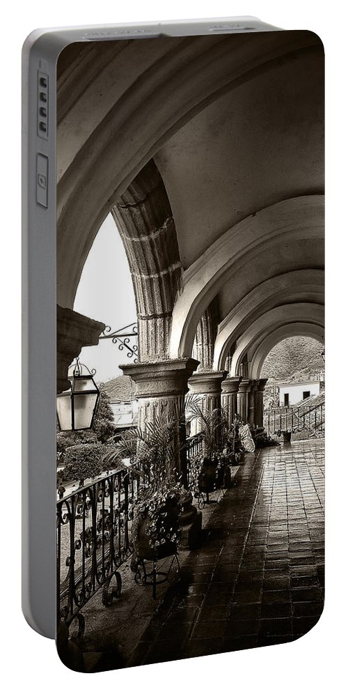 Arch Portable Battery Charger featuring the photograph Antigua Arches by Tom Bell