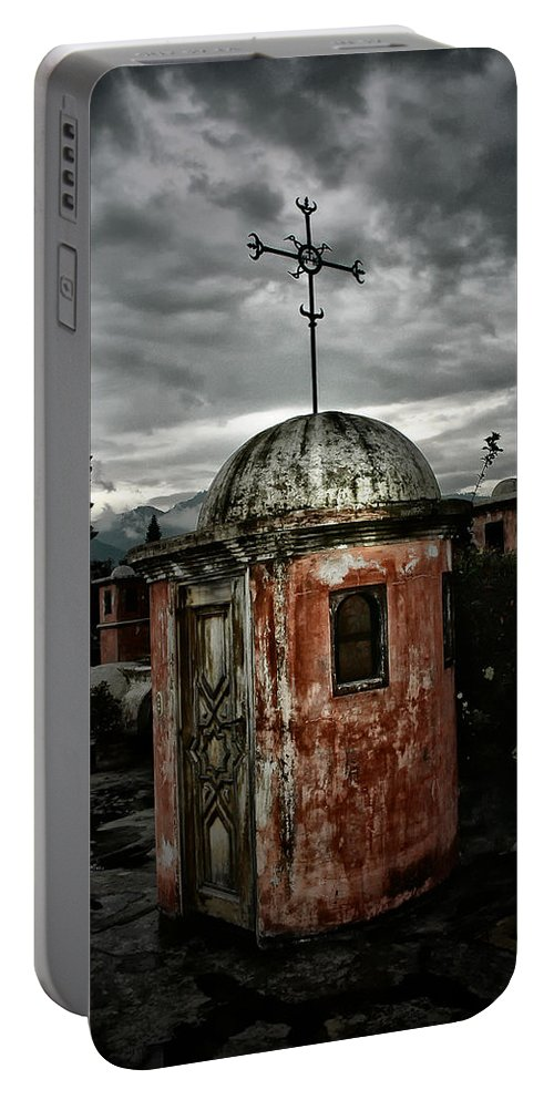 Stairs Portable Battery Charger featuring the photograph Antigua Stairwell by Tom Bell