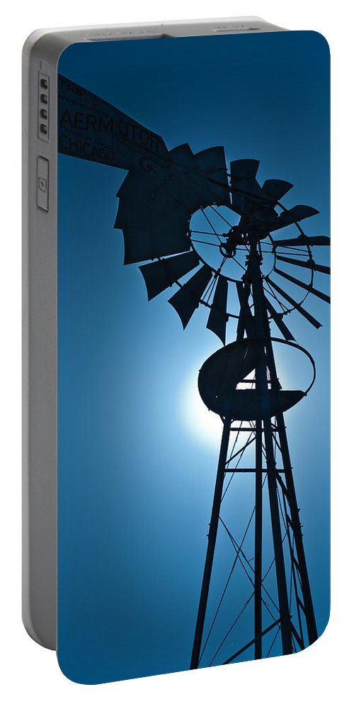 Farm Portable Battery Charger featuring the photograph Antique Aermotor Windmill by Steve Gadomski