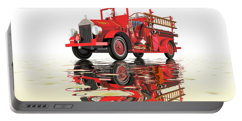 Antique Portable Battery Charger featuring the digital art Antique Fire Engine by Carol and Mike Werner