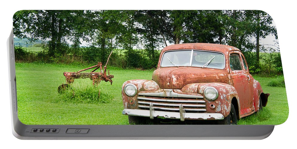 Nostalgia Portable Battery Charger featuring the photograph Antique Ford Car 6 by Douglas Barnett