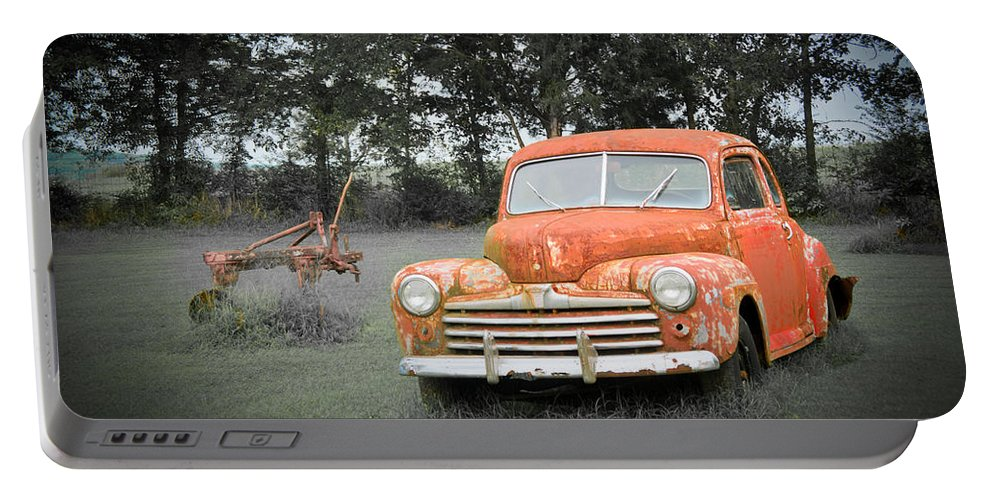 Nostalgia Portable Battery Charger featuring the photograph Antique Ford Car 7 by Douglas Barnett