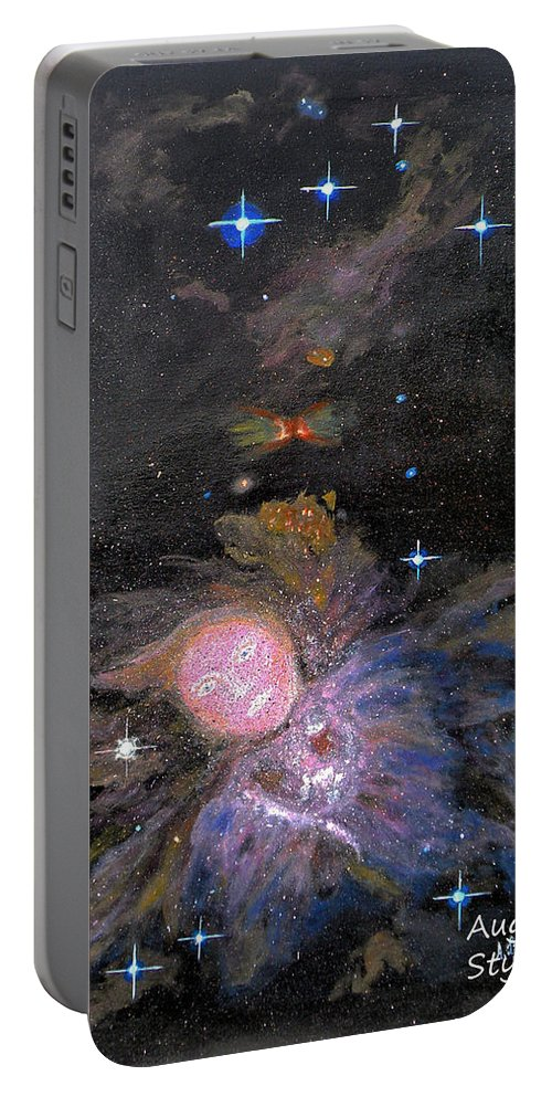 Augusta Stylianou Portable Battery Charger featuring the painting Aphrodite In Orion's Nebula by Augusta Stylianou