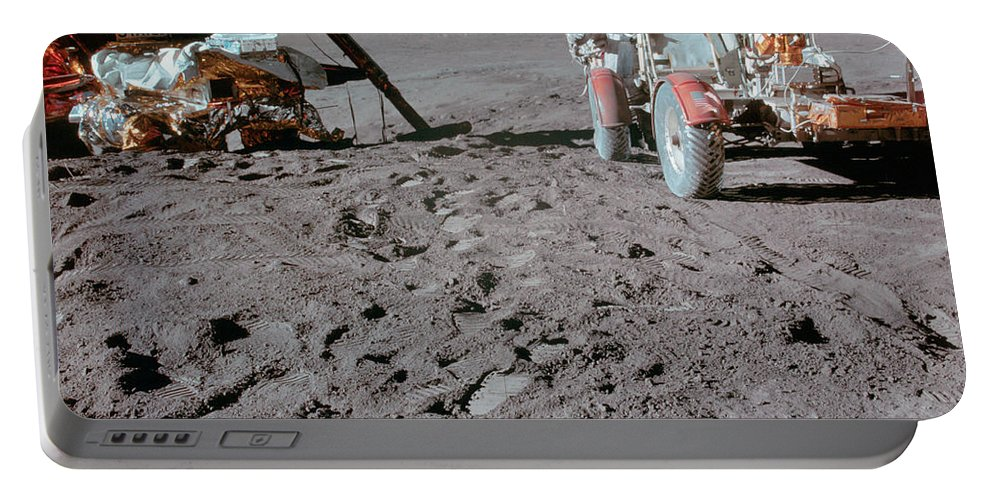 1971 Portable Battery Charger featuring the photograph Apollo 15 Astronaut Works At The Lunar by Stocktrek Images