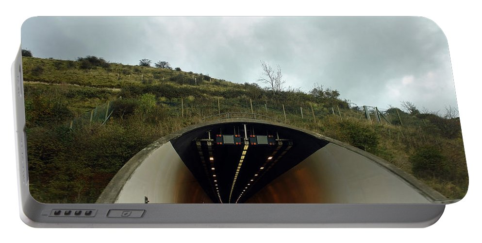 England Portable Battery Charger featuring the photograph Approaching A Tunnel On A Highway In England by Ashish Agarwal