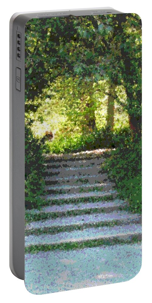 Steps Portable Battery Charger featuring the digital art Arboretum Steps by Tim Allen