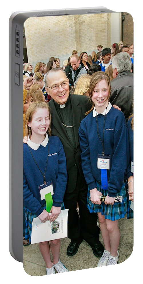 Archbishop Alex Brunett With Students Portable Battery Charger featuring the photograph Archbishop Alex Brunett by Mike Penney