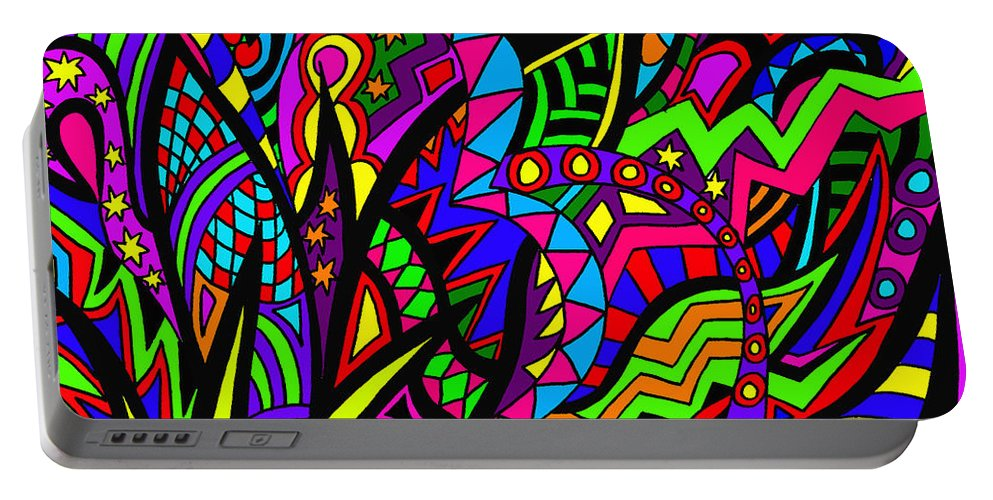 Abstract Art Portable Battery Charger featuring the painting Arhhhhhhhhhhhhh by Karen Elzinga