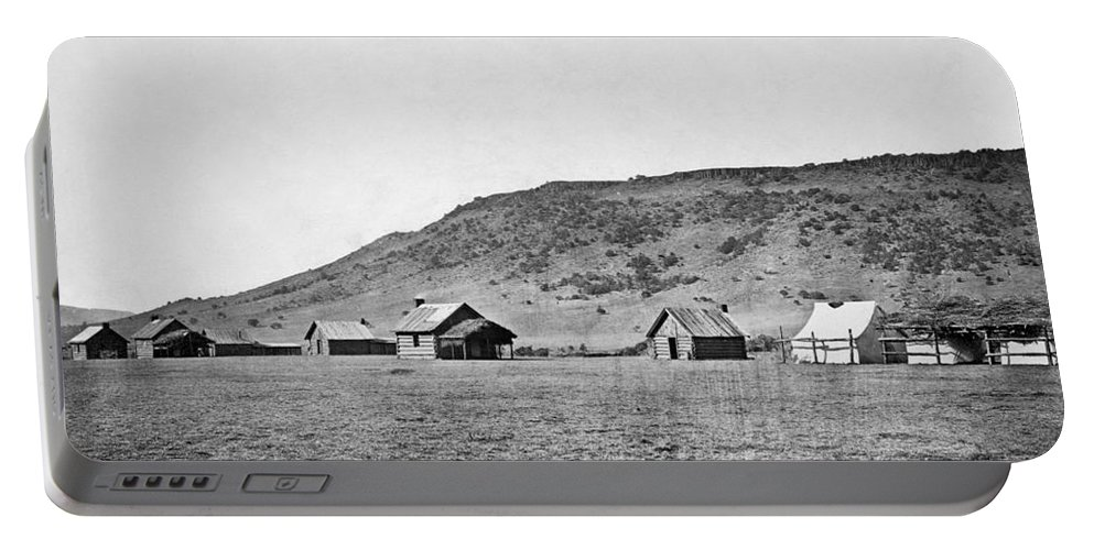 1871 Portable Battery Charger featuring the photograph Arizona: Log Cabins, 1871 by Granger