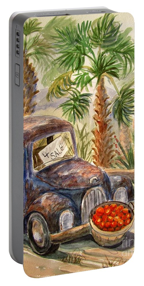 Old Truck Portable Battery Charger featuring the painting Arizona Sweets by Marilyn Smith