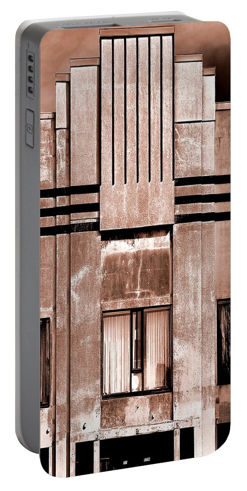 Sepia Portable Battery Charger featuring the photograph Art Deco In Sepia by Burney Lieberman