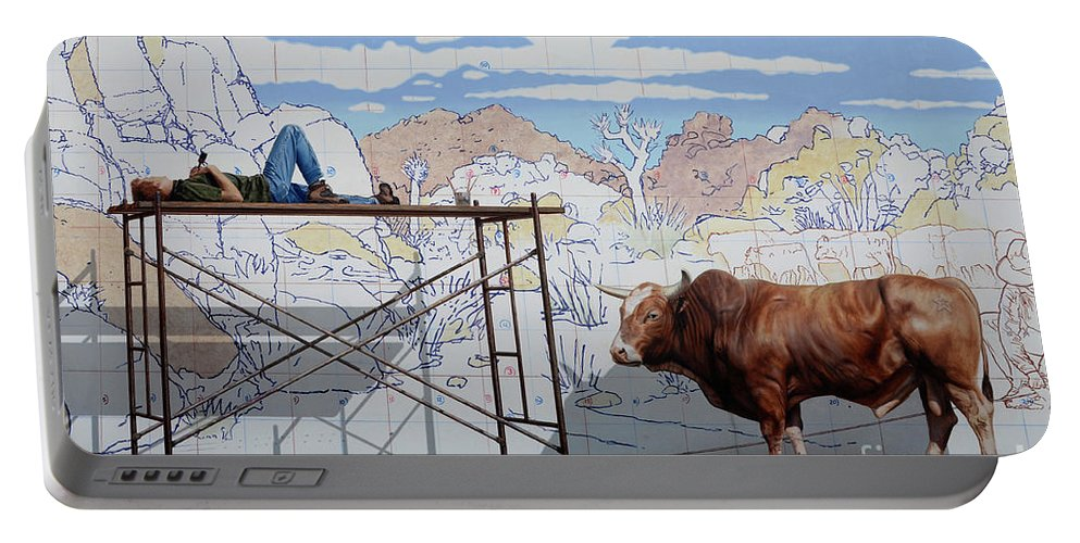 Mural Portable Battery Charger featuring the photograph Artist At Work by Bob Christopher