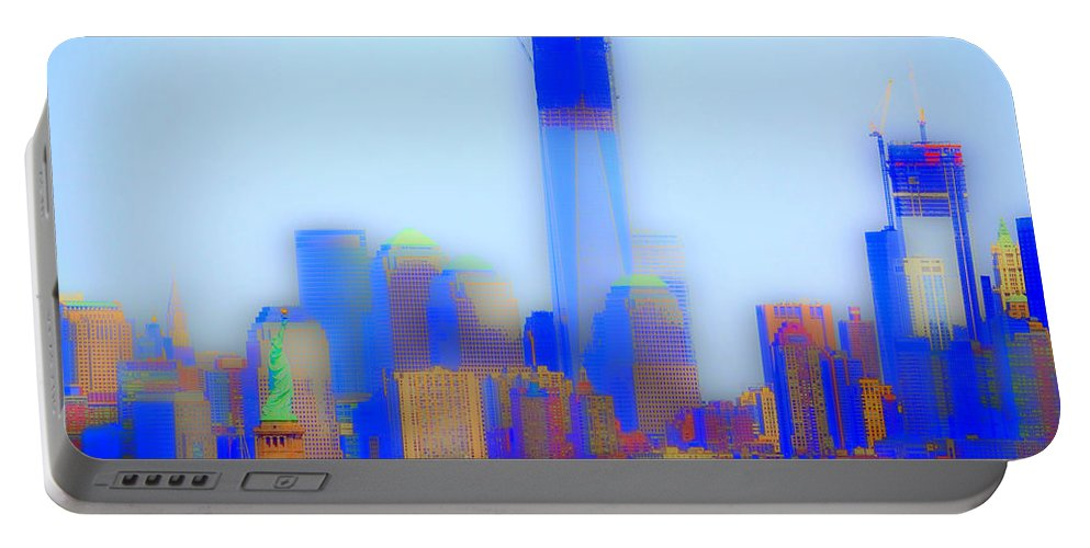 New York Portable Battery Charger featuring the digital art As In A Dream by Richard Ortolano