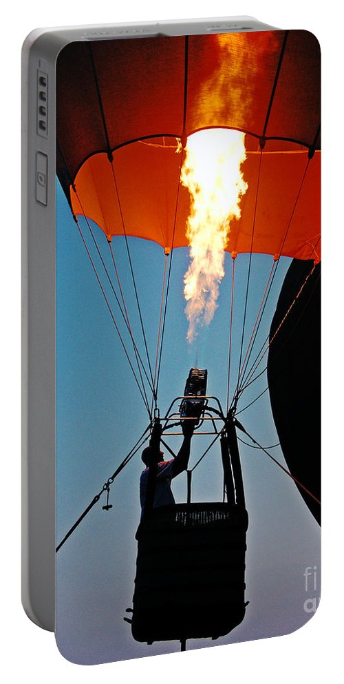 Balloon Portable Battery Charger featuring the photograph Ascension Flames by Lizi Beard-Ward