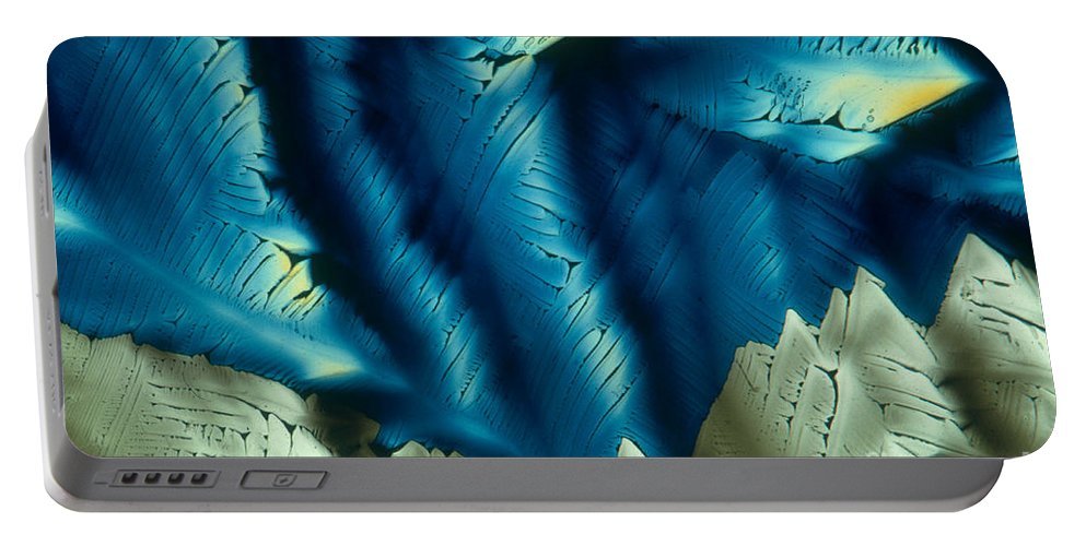 Polarized Light Micrograph Portable Battery Charger featuring the photograph Asparagine by M. I. Walker