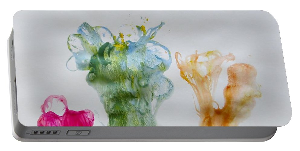 Lovely Flowers Portable Battery Charger featuring the painting Asymetrical Flowers by Sonali Gangane