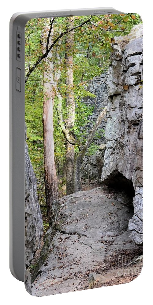 At A Cliff's Edge Portable Battery Charger featuring the photograph At A Cliff's Edge by Maria Urso