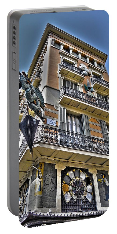 Aerial Portable Battery Charger featuring the photograph At The Plaza De La Boqueria ... by Juergen Weiss
