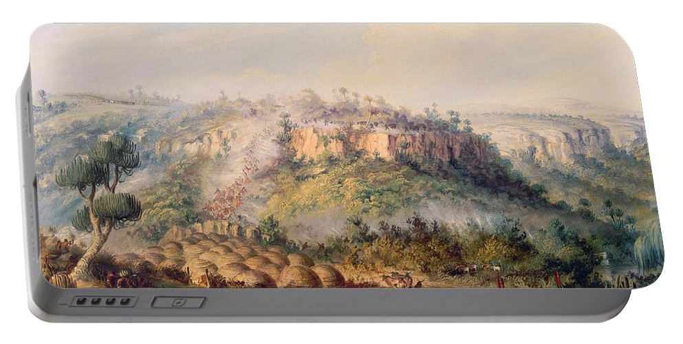 Xhosa Tribe; White Settler; Africans Portable Battery Charger featuring the painting Attack On Stocks Kraall In The Fish River Bush by Thomas Baines